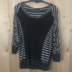 Gray Block and Stripes Ella Moss Dolman Top Size S